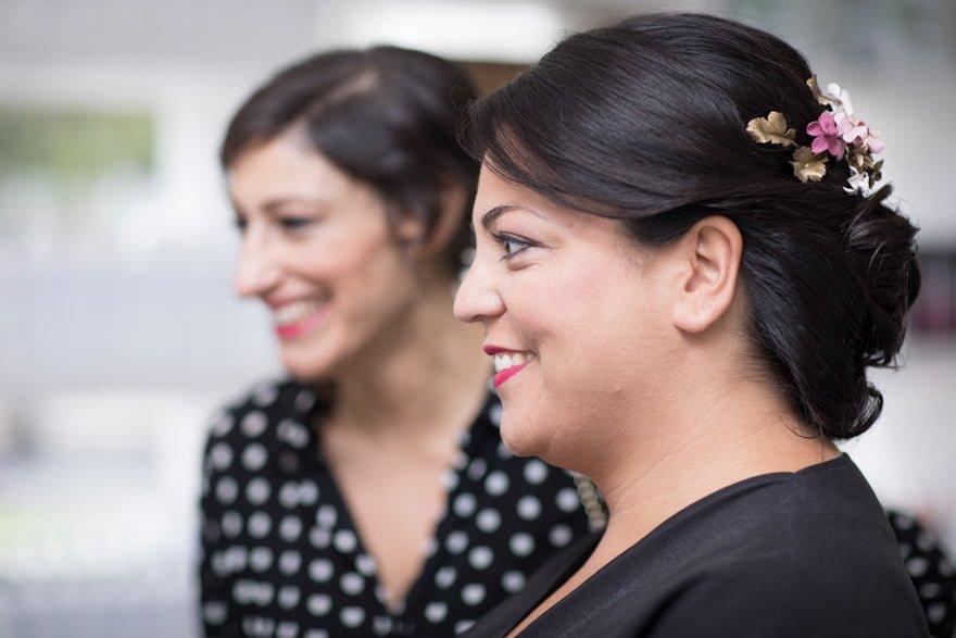 Novia en la peluquería Marga Budiño de A Coruña en el día de su boda